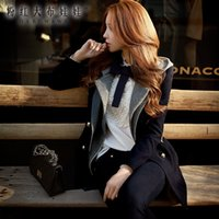 Wholesale Dabuwawa Lady s Sweet Elegant Double breasted Buttons Fake Two piece Hooded Bodycon Navy Blue Wool
