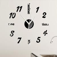 abstract wall clock black - Creative Wall Clock Decorative Mirror Acrylic Mirror Clock Digital Wall Clock Living Room Wall Stickers