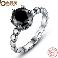 Wholesale BAMOER Genuine Sterling Silver Ring with Black Cubic Zirconia For Women Wedding Jewelry PA7109