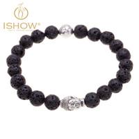 Wholesale Newest Arrival Bracelets Silver Asian Style Budda bracelet Bead Alloy Unisex mm Hard Stone Nature Vesuvianite Stone Buddha Elastic Brac
