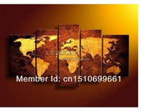 Cheap Free Shipping hand paint decorative painting mural world map frameless abstract oil painting on canvas wholesale home decor