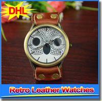 animal print watches - 2015 fashion womens watches owl design animal printing ladies leather PU wristwatch retro dress quartz watches for women lady