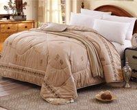 Wholesale Camel wool comforter warm winter australian hair wool quilt luxury thicken stitching comforter duvet blanket free fast shipping