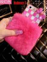 CMOS rabbits for sale - Fashion Hot Sale for iphone6 quot iphone6 plus quot iphone s s Apple Rabbit Fur With Diamond Shell Protective Sleeve Case Cover Accessorie