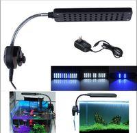 Wholesale Adjustable Soft Arm LED White Blue Light Fish Tank Aquarium Clip Lamp Flexiable Flood Light HOme Garden