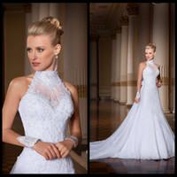 Wholesale Wow Amazingly High Neck Lace Wedding Dress with Removable Train vestido de noiva Plus Size Bride Dresses Gowns