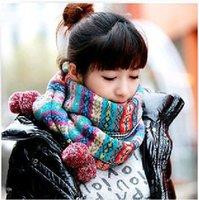Les nouveaux automne et l'hiver rétro style ethnique enfant femme laine jacquard Bohemian écharpe foulards gros foulards boules