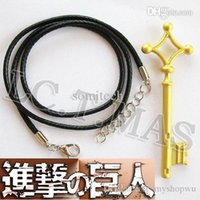 Cheap Wholesale-Cosplay RARE Attack on Titan Shingeki no Kyojin SNK Military Eren Jaeger Basement Key Golden Metal Necklace S