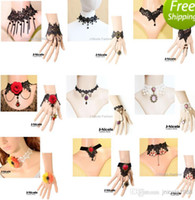 Wholesale Designs Gothic Lolita Black Lace Collar Necklace Lace Bracelet with Ring Sets Handmade Retro Choker Wedding Jewelry Set