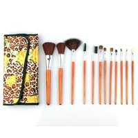 Wholesale 1 set Professional Wool Makeup Brush Kits With Peony Pattern Bag Case Brushes Makeup Tool BR112