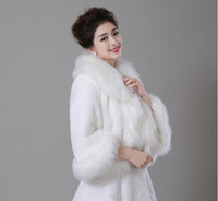 Wholesale Winter Faux Long Fur Shawl Jackets New Bridal Prom Cocktail Party Wrap Cape Wedding Accessories bridal Jackets