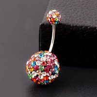 belly ring sizes - 3 Size Ball Colorful Crystal Navel Ring Stainless Steel Piercing Belly Button Ring Body Fashion Jewelry Summer Style Women PT32