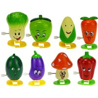 Wholesale 2015 Wind Up Walking Vegetables Plastic Toys Colorful Funny Face Somersault Running Clockwork Wind Up Toy For Children Xmas Gift