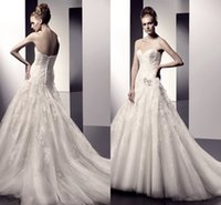 Wholesale 2014 New Arrival Sexy Wedding Dresses A Line Sweatheart Neck Sweep Train Tulle with Appliques China Plus Size Wedding Dresses JLZ88