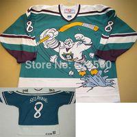 Coutume canard Avis-Factory Outlet, remorquage personnalisé 1995-1996 saison Anaheim Mighty Ducks troisième maillot de film # 8 Teemu Selanne jersey L'aile sauvage couse n'importe quel numéro / Nom