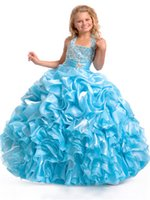 Wholesale 2015 Ice Blue Color Beads Nice Design Top Quality Halter Zipper Ball Gown Flower Girls Dresses Girls Pageant Dresses Custom Made