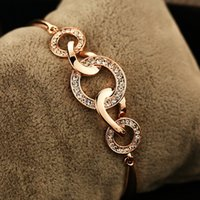 Wholesale high quality k gold plated CZ diamond bracelet for women wedding party bangle with gift box