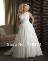 Wholesale One Shoulder Wedding Dress with Chiffon Appliques A Line