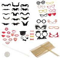 Wholesale 2015 New Year Wedding Party Creative Funny Photo Booth Kit Mustache Stick Hat Set