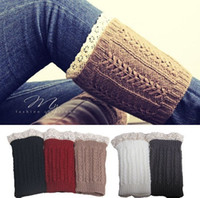 Wholesale Winter Girls lace knit boot cuff knit boot topper faux legwarmers sock tops knit leg warmers boot warmers christmas gift