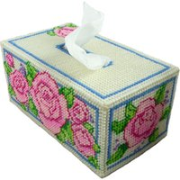 big paper rose - D Cross Stitch Creative Tissue Box Fashion DIY Hand made Home decoration tissue paper box Big Rose Pattern Tissue box for gift