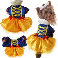 Wholesale 2015 New Halloween Princess Snow White Pet Cat Dog Tutu Dress Satin Cloth Party Wedding Dresses for Dogs Summer Puppy Skirt Clothes
