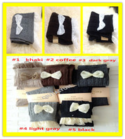 Wholesale 5Colors Fashion Ladies Crochet Boot Cuffs Bowknot Lace Trim Knit Leg Warmer Boot Socks Knee High Hosiery Girls Winter Leggings S505