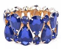 Wholesale Mix Color Wide Women Bangles Bracelets Luxurious Acrylic Rhinestone Stretch Bracelet Jewelry for Ladies Elegant Style SZ0063