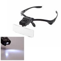 5 Lente 1.0X-3.5X Bracket con banda lupa lupas con 2 luces LED de la lámpara del ojo Herramienta Goggles Ampliación lupa E0301