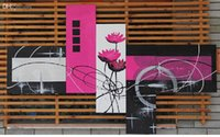 Cheap NEW!!5 Panel Large Black White and Purple Flower Painting 5 Panel Wall Art Picture Interior Decoration Home Picture
