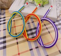 Wholesale New Designed Fashion Colorful Magic Bendy Flexible Soft Pencil With Eraser For Kids Writing Gift