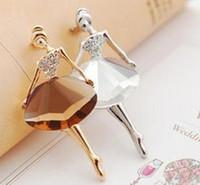 Wholesale Fashion Jewelry Ballet Girl Brooches Big Simulated Diamond Pins Fashion Czech Rhinestones Brooch