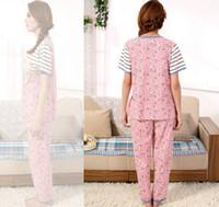 Wholesale Summer women pijamas sets short shirt long pant sleepwear women s fashion casual cotton home suit ladies clothing patchwork printing pajamas
