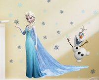 Wholesale Christmas Holiday Wallpaper Snow Queen Wall Stickers Children Kids Alsa Olaf Cartoon Home Child Bedroom Decoration E1447