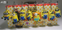 Wholesale 20pcs mixed styles Despicable Me keychains Soft PVC mobile phone accessories promotion sales cartoon keychain xmas doll gift