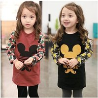 Wholesale 2014 New Arrival Children s T shirt Girl s Long Cotton Sweater with Cartoon Mickey Thickened Velvet Base Garment