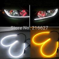 alfa tube - 2x cm Tube Style White Amber Switchback Headlight LED Strip Drl Run Light