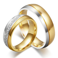 Wholesale Couples Wedding Dress - New CZ couple crystal rings for lover 18k gold plated Stainless Steel wedding men women party dress gift jewelry