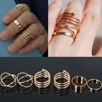 Wholesale 12sets Set Urban Golden stack Plain Cross Spiral Above Knuckle Ring Band Midi Rings NEW Hot Chic Women Ring set Jewelry Free