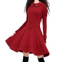 Wholesale Women S Casual Skin Friendly Solid O Neck Mid Calf Umbrella Embroidered Winter Thickening Basic One Piece Dress