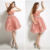 Cheap New 2014 Short Crystal Embellished Bustier Prom Dresses for Juniors Teens Plus Size Flowy Party Graduation Homecoming Little Chiffon Gowns