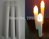 Wholesale 50pcs Flameless Battery Operated Wax Dipped LED Taper Candles lights for wedding party home decor CM Amber