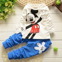 Cheap Cute baby outwear lovely mouse printed cotton kids outfits T-shirt+pants 2pcs set spring child boys clothes infant suit toddler casual wear