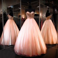 Gorgeous Princess Ball Gown Robes de bal Perlées Sequins Sweetheart Bodice Lace up Retour Peachy Pink Prom Gowns Real Photos