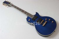 Wholesale Custom string guitar electric with frets active pickups blue color Deluce abalone inlay electric guitar