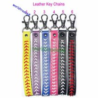 baseball pitches - Hot SLae Softball Seamed Leather Keychains Baseball Fast Pitch Keychains Multiple Colors You Choices Size width cm Length cm