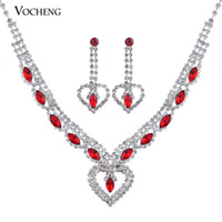 Wholesale Bridal Jewelry Sets Forever Love Red White Crystal White Plated with Lobster Clasps Vs Vocheng Jewelry