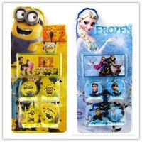 Wholesale 120sets Minions Stamp Childrens Cartoon Stationery Pattern Stamp Sets Big Hero Sofia KT Cat Cinderella Action Figures Kids Toys