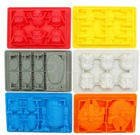 Wholesale 300pcs HOT set Star Wars Funny Candy Bake Maker Ice Tray Silicone Mold Ice Cube Tray Chocolate Fondant Mold Death Star X Wing D481