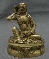 Wholesale New Chinese Pure Brass Buddhism Arhat Milarepa Buddha Ride Deer Head Statue Set